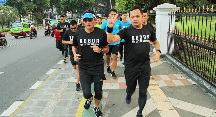 Sandiaga Uno jogging di Bogor