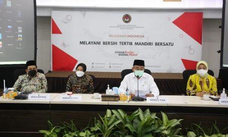 Keterangan pers usai rakor membahas mengenai kebijakan mudik lebaran tahun 2021, Jumat (26/03/2021). (Foto: Humas Kemenko PMK)