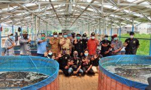 Camat Rumpin Rusliansy didampingi pengurus yayasan Transformasi Anak Bangsa saat meninjau lokasi budi daya ikan dalam ember di Desa Sukamulya.