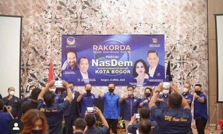 Pelantikan Pengurus DPD dan DPC Partai Nasdem se-Kota Bogor dan Rapat Koordinasi Partai Nasdem di Bigland Hotel, Jalan Malabar, Kota Bogor, Minggu (4/4/2021)