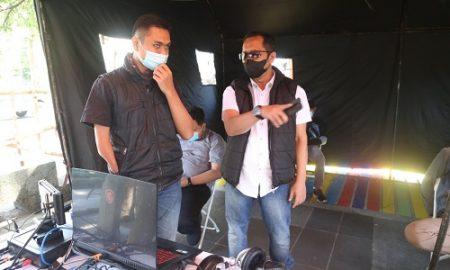 Anggota Komisi I DPRD Jabar, Arif Hamid Rahman saat meninjau lokasi Posko Penegakkan Hukum Dan Sanksi PPKM Darurat di Alun-alun Ujung Berung, Kota Bandung, Jumat (16/7/2021)